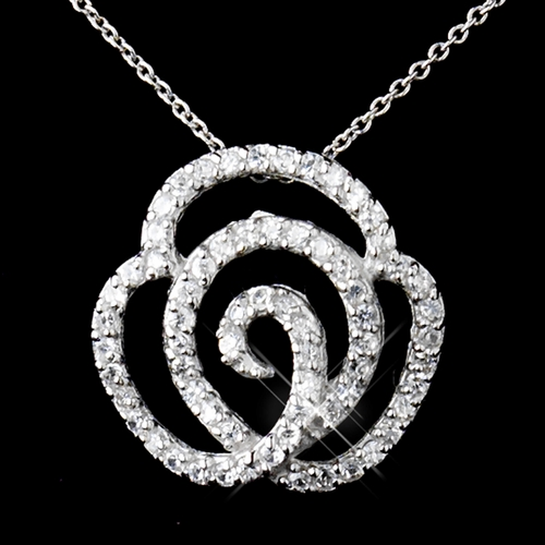 Solid 925 Sterling Silver CZ Crystal Rose Pendent Drop Necklace & Earrings Set 9982