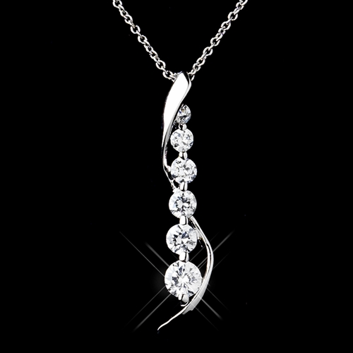 Solid 925 Sterling Silver Clear CZ Crystal Pendent Drop Necklace & Earrings Jewelry Set 9983