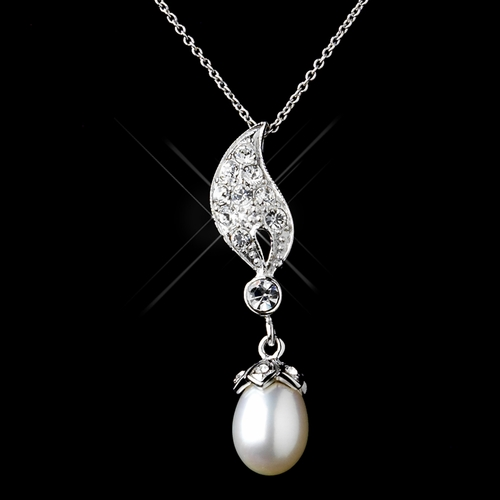 Solid 925 Sterling Silver CZ Crystal & Freshwater Pearl Drop Necklace & Earrings Set 9984