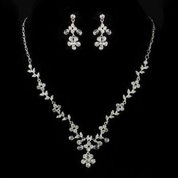 Silver Clear Swarovski Crystal and Rhinestone Floral Necklace & Earrings Jewelry Set 8219