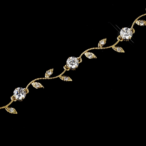 Gold Clear CZ Vine Leaf Bracelet 0112