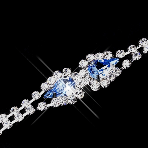 Silver Light Blue Teardrop Rhinestone Bracelet 0201