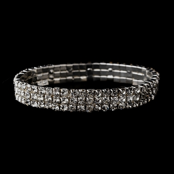 Silver Clear 3-Row Rhinestone Stretch Bracelet 0741
