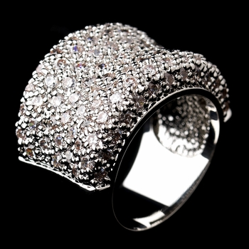 Fabulous Antique Silver Clear Ring 0019 Size 6