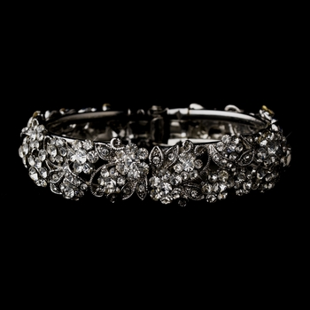 Antique Silver Rhodium Clear Rhinestone Floral Leaf Bracelet 1836
