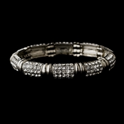 Antique Silver Clear Rhinestone Stretch Bracelet 0008