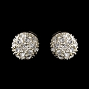 Silver Clear Round Embedded Rhinestone Earrings 0041