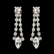 Silver Clear Navette Rhinestone Drop Earrings 0066