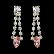 Silver Pink & Clear Navette Rhinestone Drop Earrings 0066