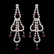 Silver Amethyst & Clear Teardrop Rhinestone Chandelier Earrings 0106
