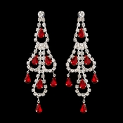 Silver Red & Clear Teardrop Rhinestone Chandelier Earrings 0106