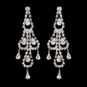Silver Clear Teardrop Rhinestone Chandelier Earrings 0106