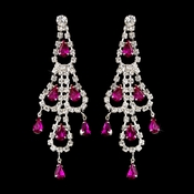 Silver Fuchsia & Clear Teardrop Rhinestone Chandelier Earrings 0106