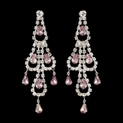 Silver Light Amethyst & Clear Teardrop Rhinestone Chandelier Earrings 0106