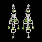 Silver Peridot & Clear Teardrop Rhinestone Chandelier Earrings 0106