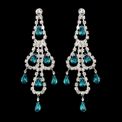 Silver Teal & Clear Teardrop Rhinestone Chandelier Earrings 0106