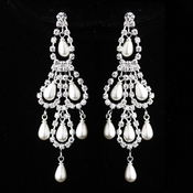 Silver White Pearl & Clear Teardrop Rhinestone Chandelier Earrings 0106