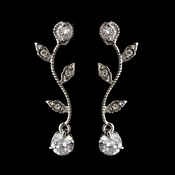Silver Clear Round CZ Crystal Vine Drop Earrings 0112