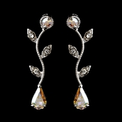 Silver AB & Clear Teardrop Rhinestone Vine Drop Earrings 0116