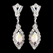 Silver AB & Clear Marquise Baguette Round Rhinestone Drop Earrings 0124