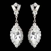 Silver Clear Marquise Baguette Round Rhinestone Drop Earrings 0124