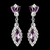 Silver Light Amethyst & Clear Marquise Baguette Round Rhinestone Drop Earrings 0124