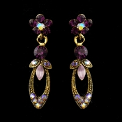 Gold Amethyst Marquise & Round Rhinestone Drop Earrings 0314