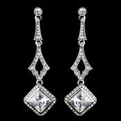 Antique Silver Clear CZ Crystal & Rhinestone Drop Earrings 0361