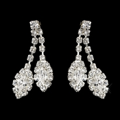 Silver Clear Marquise Rhinestone Drop Earrings 0392