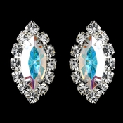 Silver AB & Clear Marquise Rhinestone Stud Earrings 0784