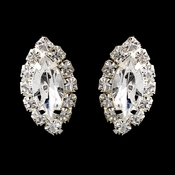 Silver Clear Marquise Rhinestone Stud Earrings 0784 Clipped