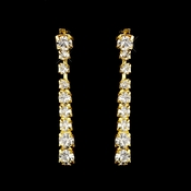 Gold Clear Round Rhinestone Drop Earrings 0822