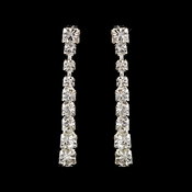 Silver Clear Round Rhinestone Drop Earrings 0822