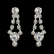 Silver Clear Round Rhinestone Drop Earrings 0930
