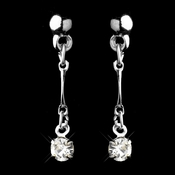 Silver Clear Round Rhinestone Drop Earrings 0993