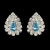 Silver Aqua & Clear Teardrop Rhinestone Stud Earrings 1002