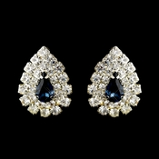 Silver Navy & Clear Teardrop Rhinestone Stud Earrings 1002