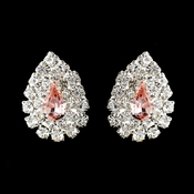 Silver Pink & Clear Teardrop Rhinestone Stud Earrings 1002