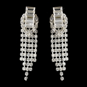 Silver Clear Rhinestone Pierced Drop Chandelier Earrings 1006