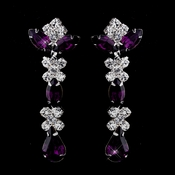 Silver Amethyst & Clear Round, Marquise, Teardrop Earrings 1007