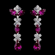 Silver Fuchsia & Clear Round, Marquise, Teardrop Earrings 1007