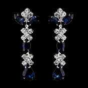 Silver Navy & Clear Round, Marquise, Teardrop Earrings 1007