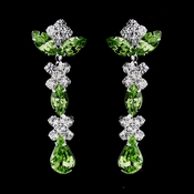 Silver Peridot & Clear Round, Marquise, Teardrop Earrings 1007
