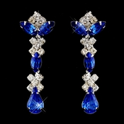 Silver Sapphire & Clear Round, Marquise, Teardrop Earrings 1007