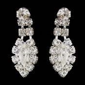 Silver Clear Round & Marquise Rhinestone Drop Earrings 1010