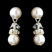 Silver White Pearls & Clear Swarovski Crystal Rondelle Rhinestones Clipped Earrings 1402