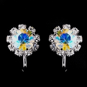 Silver AB & Clear Round Rhinestone Clipped Stud Earrings 1442