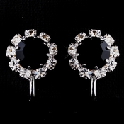 Silver Black & Clear Round Rhinestone Pierced Stud Earrings 1442