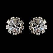 Silver Clear Round Rhinestone Pierced Stud Earrings 1442