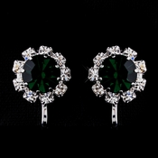 Silver Emerald & Clear Round Rhinestone Pierced Stud Earrings 1442